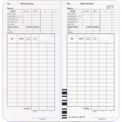 QR-375 Double Sided Time Cards (QTY:500)