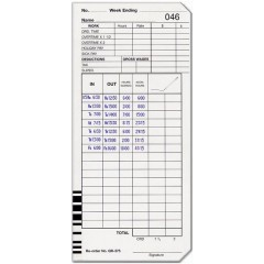 QR-375 Single Sided Time Cards (QTY:500)